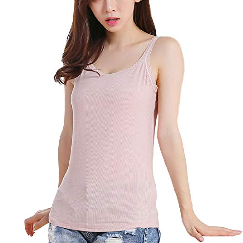 Leben, Womens Sexy Casual Modal Vest Adjustable Lace Sleeveless Camisole Tank, Peach, One - Camisole Peach