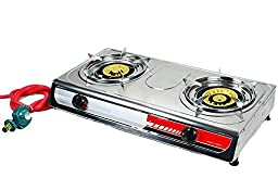GHP Alpha 2058 Heavy Duty Stainless Steel Double Burner Stove