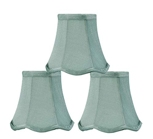 Off Green Faux Silk Chandelier Lamp Shades Clip on 5 Inch White Linen Clips onto Bulb,Set of 3