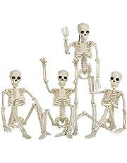 HOOJO Halloween Skeleton Decorations-4 Packs Full Body Halloween Skeleton with Movable Joints for Best Halloween Decor