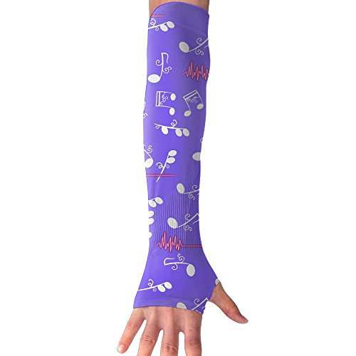 Novelty Musical Note Unisex Half Finger Arm Sleeves Cover Glove Skin Protection Sunproof Cuffs (Nerdy Halloween Jokes)
