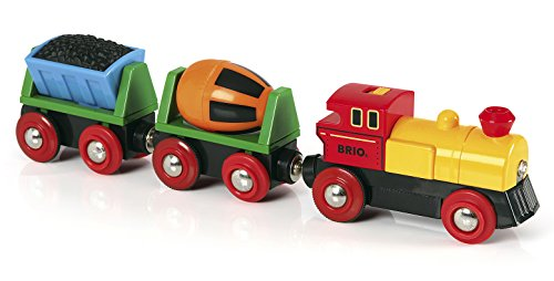 (BRIO World - 33319 Battery Operated Action Train | 3 Piece Toy Train for Kids Ages 3 and Up)