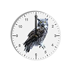 TOOLOUD Great Horned Owl Photo 8 Round Wall Clock with Numbers