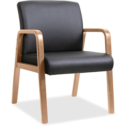 Lorell Leather Guest Chair in Walnut