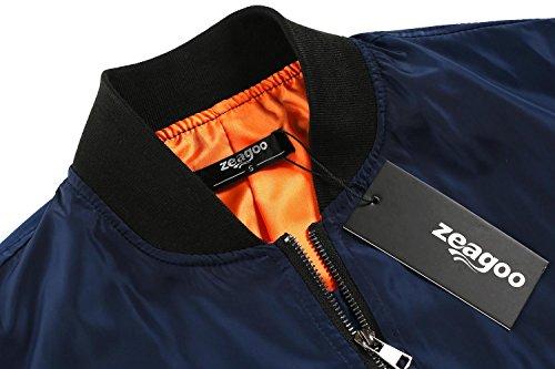 femmes solide Bleu Zeagoo Marine classique Coat Up Zip Bomber Jacket Biker Jacket UAw7wHdxq