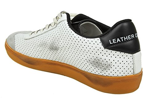 Leather Crown Sneakers Uomo MLC792 Pelle Bianco/Nero