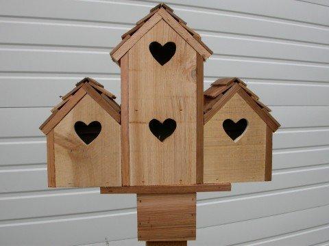 Cheap Cedarnest Cedar Birdhouse with 4 Seperate Compartments Hearts