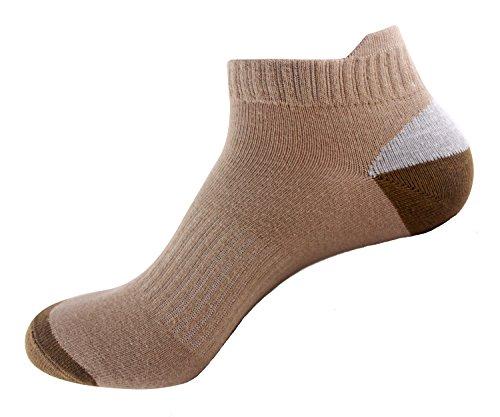 Bonvince No Show Athletic Running Socks for Men and Women Unisex cushion Thick Padded Khaki