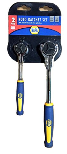 Napa 2 Piece ROTO Ratchet Set 3/8 + 1/4 Dr with Cushion grip handle - Swivel Head Rotates 360 (Ratcheting Swivel)