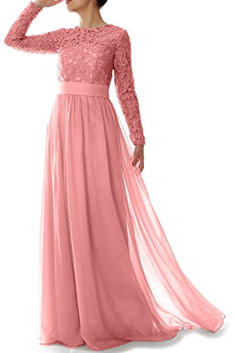 MACloth Women Long Sleeve Lace Chiffon Mother of Bride Dress Formal Evening Gown (18w, Blush Pink)