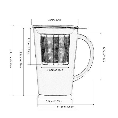 Buy glass tea mug with lid and strainer