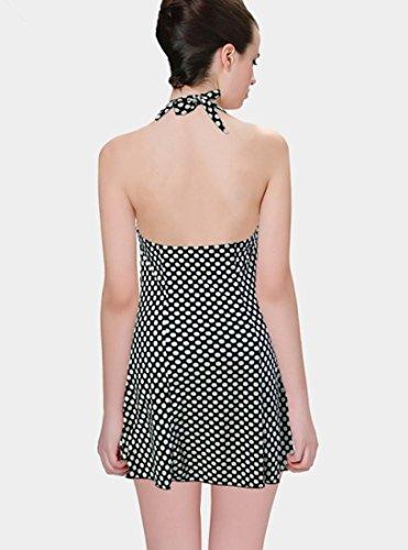 Hzz Vestido de la nadada de las mujeres de una pieza redonda del punto de impresión Conformación del cuerpo del traje de baño ropa de playa con corta Black