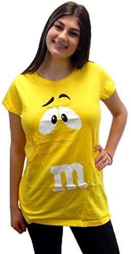 Candy Shop Tee Top - M&M's Candy Women's Junior Fit Character Face T-Shirt Tee Shirt Cap Sleeve, Short Sleeve Top (Small, Yellow Cap Sleeve)