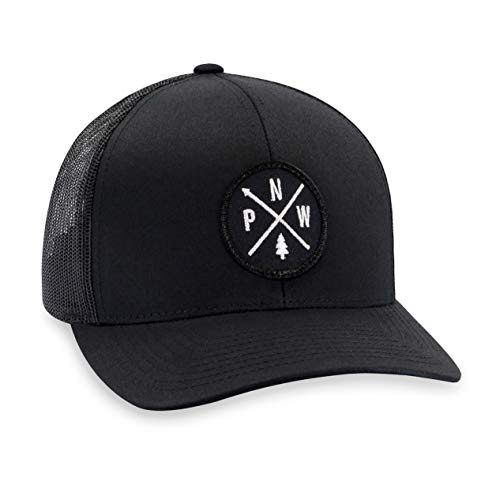 PNW Hat - Pacific Northwest Trucker Mesh Snapback Baseball Cap - Black