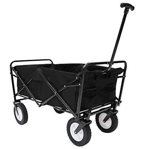 Victoria Young Collapsible Outdoor Utility Wagon Folding Cart All-Terrain Wheels Trolley for Shopping Beach Garden, Black