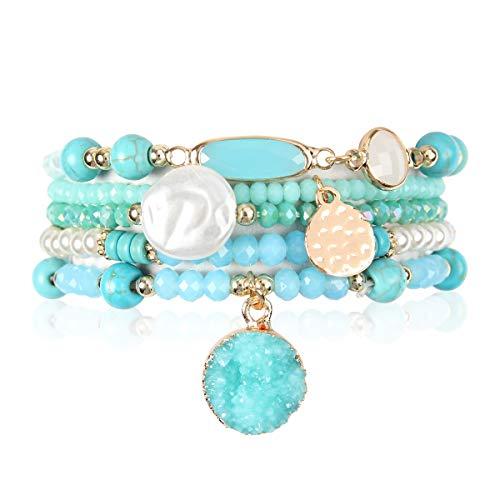 - Bohemian Versatile Multi-Layer Bead Statement Bracelet - Stretch Strand Stackable Cuff Bangle Set Sparkly Crystal, Acrylic Druzy, Pave Fireball (Acrylic Druzy Dangle & Jewel Mix - Turquoise)