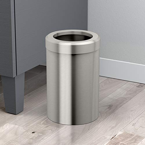 (Gatco 1911 Modern Waste Basket Bathroom, Kitchen, Office Trash Bin, Round, Satin Nickel)