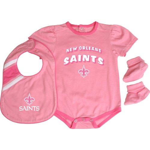 Reebok Infants Nfl Creeper - Reebok New Orleans Saints Infant Creeper, Bib and Bootie Set - Pink Infant 24 Months