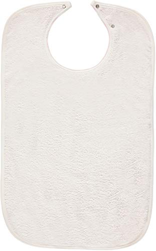 Nobles 3 Terry Adult Bibs with Vinyl Barrier - Snap Closure (White With Light Pink Backing)