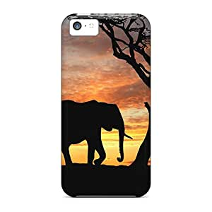 Iphone 5c Case Slim [ultra Fit] Elephants At Sunset Protective Case Cover