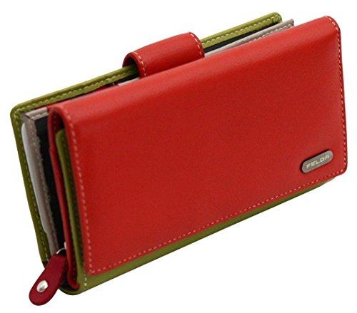 Damen Geldbörse aus Echtleder mit 19 Fächern - RFID-Blocker (Lila Multi) Orange & Grün