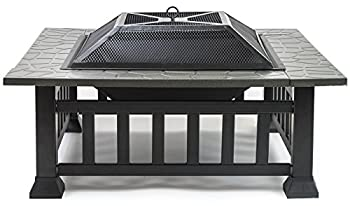 Sorbus Fire Pit Square Table With Screen Cover, Log Grate, Poker Tool, Great Bbq Grill For Outdoor Patio, Backyard, Garden, Camping, Picnic, Bonfire, Attractive Stone Slate (Fire Pit Square Table) 2