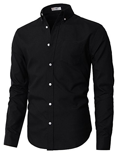 H2H Mens Stylish Casual Oxford Long Sleeve Button-Down Shirts Black US S/Asia M (KMTSTL0521)