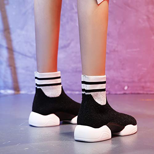 Calzado Calzado negro Señoras Calcetines Botas de de Deportivo Punto Lucdespo Botas elásticos otoño Calcetines Deportivo Tqt5d6nwx