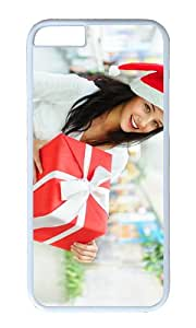 Smiling Christmas girl gift box ribbon PC White Hard Case for Apple iPhone 6(4.7 inch)