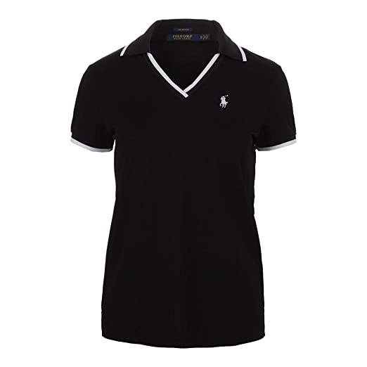 Lauren V Neck Polo BlackAt Tennis Ralph Women`s Amazon j35Lcq4AR