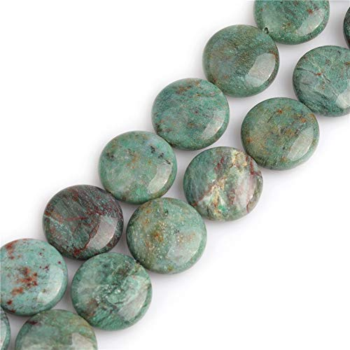 (GEM-inside 20mm Natural Green Blood Stone Semi Precious Coin Button Chakras Beads for Jewelry Making DIY Handmade Craft Supplies 15
