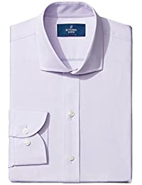 Amazon Brand - BUTTONED DOWN Men's Slim Fit Cutaway-Collar Solid Pinpoint Dress Shirt, Supima Cotton Non-Iron