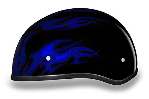 DOT Blue Flames Motorcycle Half Helmet (Size 2XS, XX-Small)