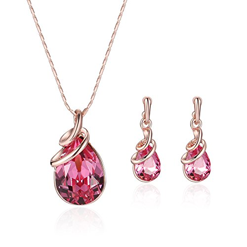 Teniu Fashion Amethyst Ruby Pink Crystal Pendant Necklace Earrings Set Rose Gold Jewelry Set For Women Girls