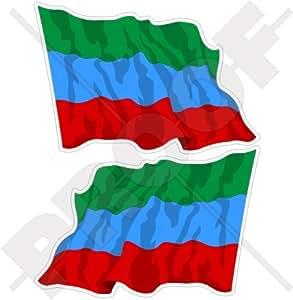 "REPÚBLICA De DAGUESTÁN Bandera Ondeante Ondeante Daghestan RUSIA Sujeto Federal Ruso 3"" (75mm) Pegatinas de Vinilo Adhesivos, Stickers, Calcomanias x2"