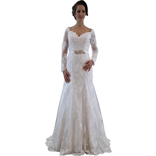 Chady Elegant Sweetheart Off Shoulder Long Sleeves Lace Mermaid Wedding Dress Plus Size 2017 Bride Dresses by Chady
