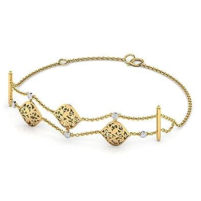 Buy Caratlane 18KT Two Colour Gold and Diamond Bracelet for Women