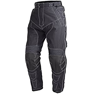 Motorcycle Cordura Waterproof Riding Pants Black with Removable CE Armor PT5 (XS)