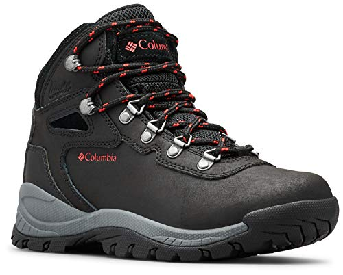 Columbia Women's Newton Ridge Plus Hiking Boot, Black/Poppy Red, 12 Regular US