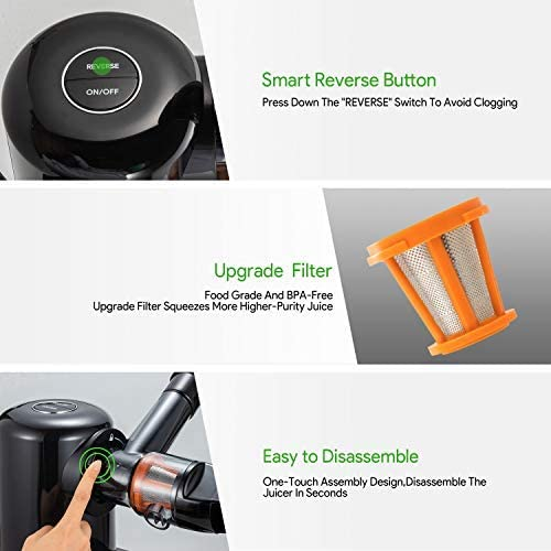 Masticating Juicer, Bagotte Juicer Machines Slow Juicers Extractor, Easy to Clean, Quiet Motor & Reverse Function, Cold Press Juicer for Vegetables and Fruits, BPA-Free, Juice Recipes