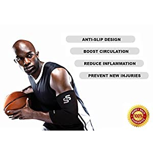 Sleeve Stars Premium Elbow Sleeve - Great Support & Compression Brace for Tennis Elbow, Golfers Elbow, Tendonitis and Bursitis - Best Stabilizer for Football, Basketball, Crossfit & Gym
