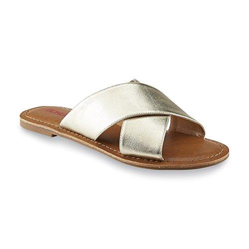Bongo Lila Womens Slide Sandal (8 M US, Gold) (Sandals Bongo Womens)