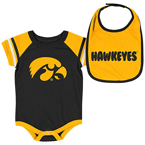Colosseum NCAA Baby Short Sleeve Bodysuit and Bib 2-Pack-Newborn and Infant Sizes-Iowa Hawkeyes-0-3 Months (Iowa Hawkeye Baby Clothes)