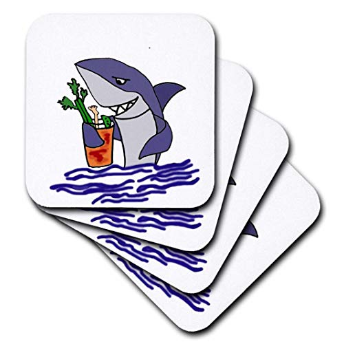 3dRose Funny Shark Drinking Bloody Mary Drink - Ceramic Tile Coasters, Set of 4 (CST_204418_3)