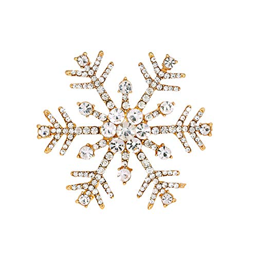 Holiday Christmas Pin (HSWE Christmas Brooches for Women Statement Pins Christmas Jewelry Set for Girls Men (Gold Snowflake))