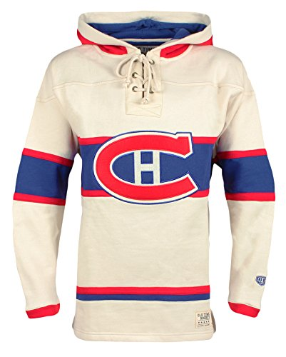 Old Time Hockey NHL Montreal Canadiens Men's Vintage Lacer Heavyweight Hoodie, Large, Stone (Hockey Montreal Nhl)