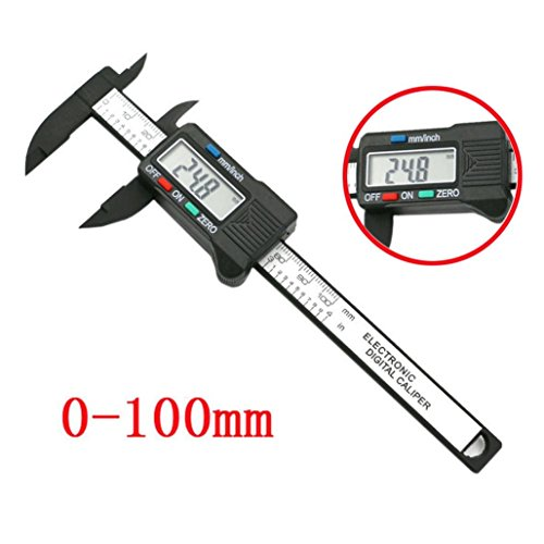 (Electronic LCD Digital Electronic Carbon Fiber Vernier Caliper Gauge Inch/Metric/Fractions Conversion 0-4 Inch/100 mm Micromet Extra Large LCD Screen Measuring Tool ,Tuscom)
