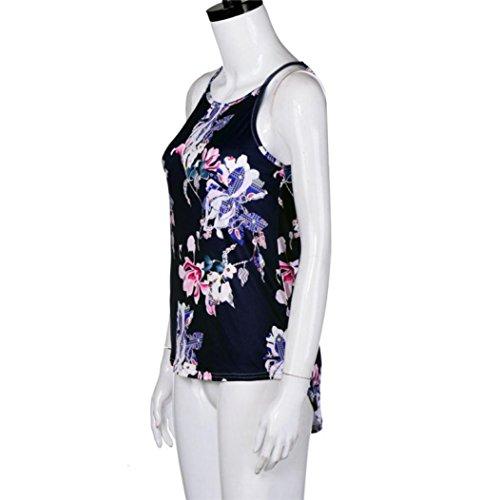 Imprimé fleuri sans manches Gilet,Femmes sans manches fleur imprimé débardeur Casual blouse gilet T-shirt