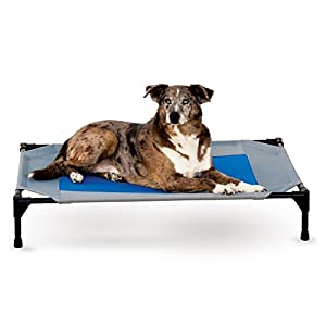 "K&H Pet Products Coolin' Pet Cot Elevated Pet Bed Large Gray/Blue 30"" x 42"" x 7"" 54"