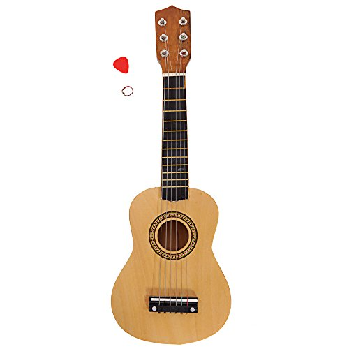 21 Inch 6 String Kid Acoustic Guitar Musical Instruments Toys for Beginners with String and Pick (wood color) by OASIS FOX